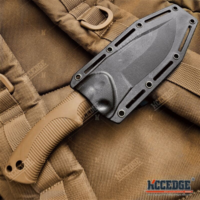 "9"" Tactical Knife FIXED BLADE KNIFE w/ Kydex Sheath Coyote Brown Survival Knife"