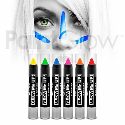 PaintGlow UV Neon Face & Body Paint Stick (6 Pack) uv face paint, face painting