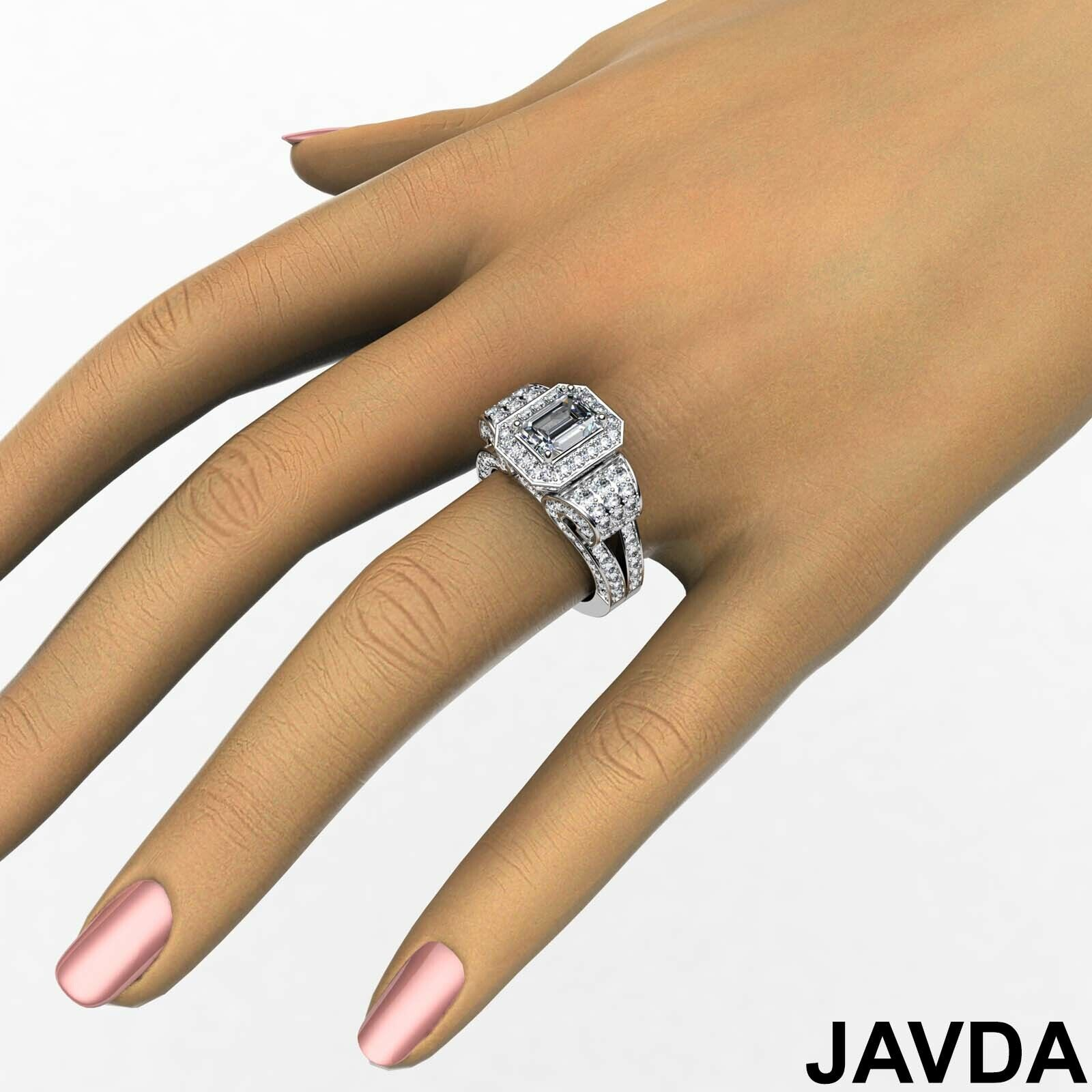 4.4ctw Antique Vintage Halo Emerald Diamond Engagement Ring GIA I-VS1 White Gold 4