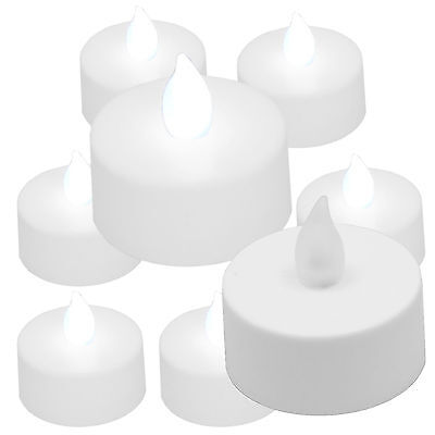 6 Qty COOL WHITE Battery Operated Flameless LED Flickering Lights Candle Tea - Flameless Led Lights