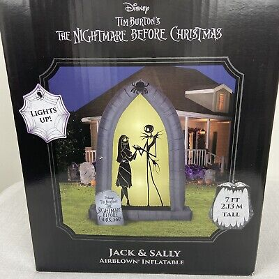 Nightmare Before Christmas Jack & Sally 7 FT Arch LED Airblown Inflatable Gemmy