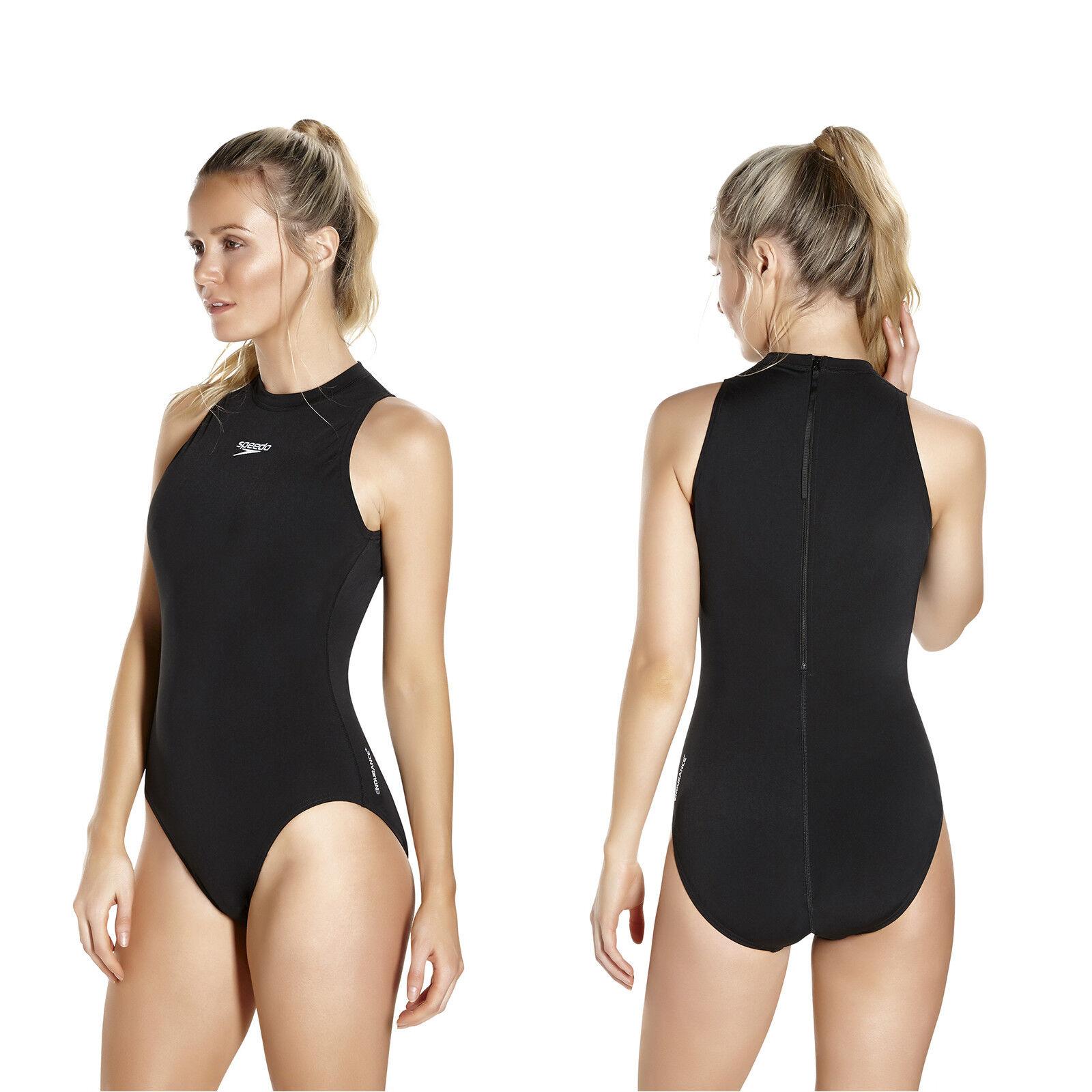Speedo Badeanzug Schwimmanzug hydrasuit Damen hochgeschlossen Reißverschluss