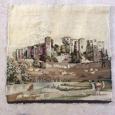 Castle Scene Vintage  unframed Needlepoint Tapestry (ideal cushion front)