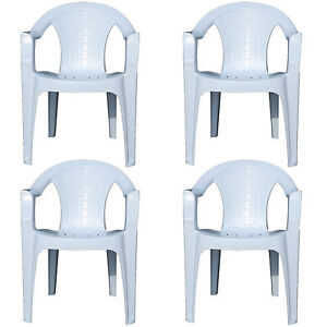 4x Indoor & Outdoor White Plastic Lawn Chairs Garden Patio Armchair Stacking NEW