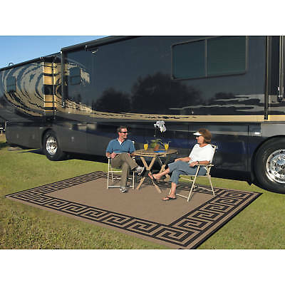 Reversible Camping Mat Outdoor RV Rugs 9ft x 12ft Floor Cover Carpet Greek Key