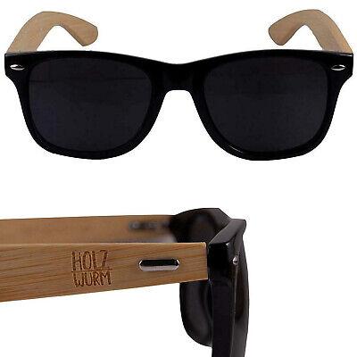 RETRO Sonnenbrille Holz Optik Bambus - Damen Herren Unisex Brille schwarz UV400