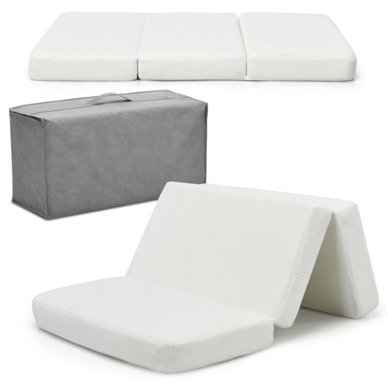 Tri-Fold Pack n Play Mattress Pad Foldable Crib Mattress Soft Memory Foam