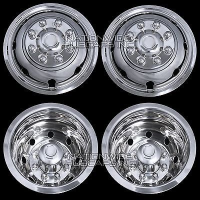 """4 Ford 16"""" Dual Wheel Simulators Hub Caps Full Rim Skins Deep Dish Domed Covers"""