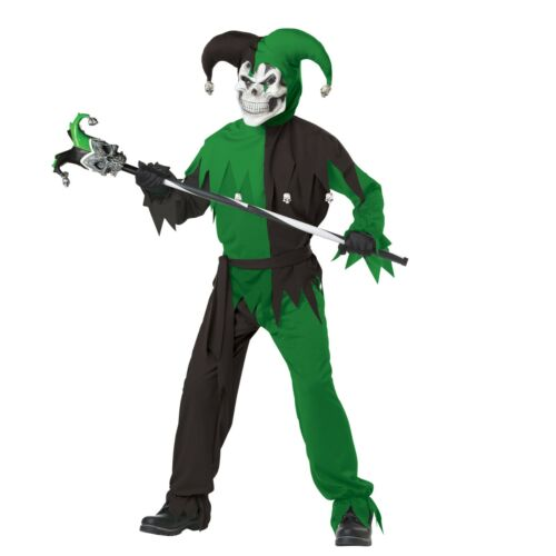 Evil Jester Boys Large 5 Piece Halloween Costume New Green and Black