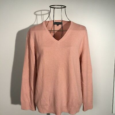 New JONES NEW YORK Pink 100% Cashmere V-Neck Sweater XL $99 NWT collection