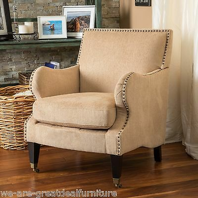 Living Room Furniture Fawn Soft Fabric Padded Club Chair w/ Nailhead Accent