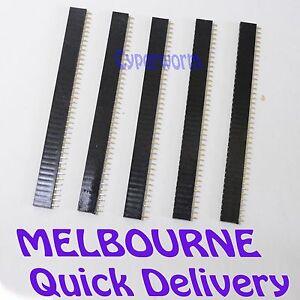 5X Single Row Straight Female Pin Header Connector Strip Arduino 2.54mm Black