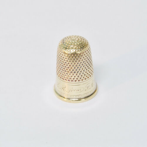 Vintage Antique 14k Yellow Gold Sewing Thimble Size 8 Engraved