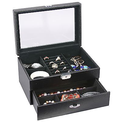 Black Leather Carbon Fiber Jewelry Storage Case Wdrawer Glass Top Lock And Key