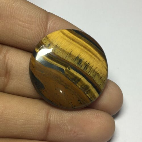 Brown Tiger Eye Smooth Cabochon Gemstone Round Shape 42Cts UNE-8