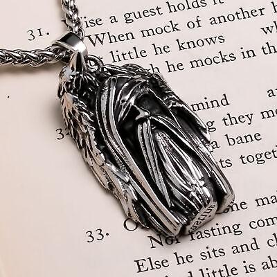 Viking Odin Ravens Stainless Steel Pendant Necklace