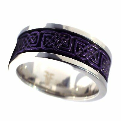 - Dark Purple Celtic Spinner Ring Womens Mens Stainless Steel Thumb Band Size 5-15