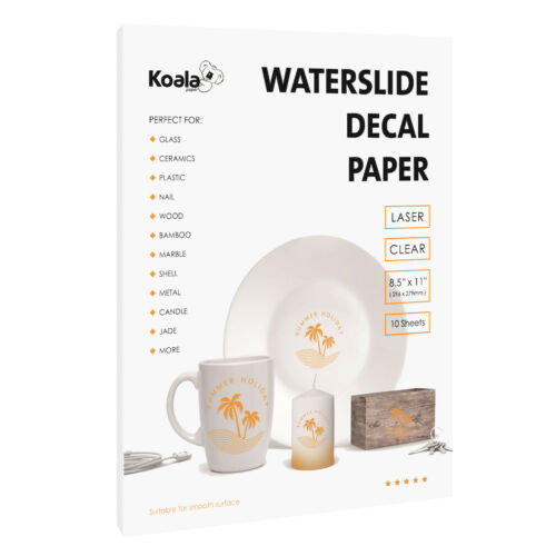 Koala 10 Sheets Premium LASER CLEAR Waterslide Decal Transfer Paper 8.5x11 DIY