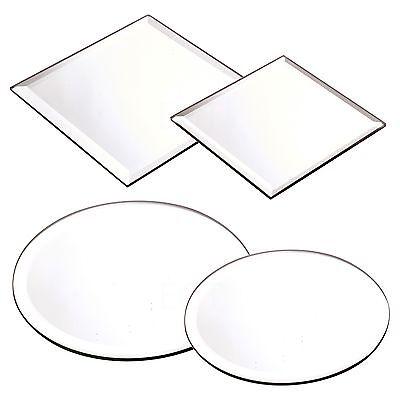 Rund Quadratischer Spiegel Kerzenteller Kuchenstand Hochzeit Mittelstück Tisch ()