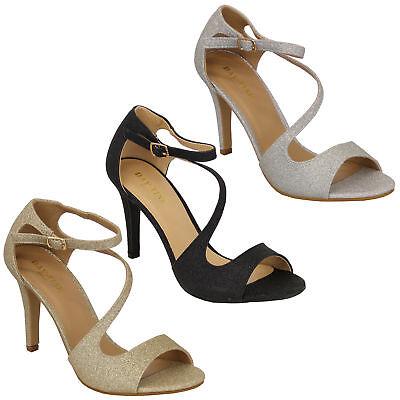 Damen-Glitter Sandalen Damen Knöchelriemen Mittelhoch Modische Party Schuhe Glitter Party Schuhe