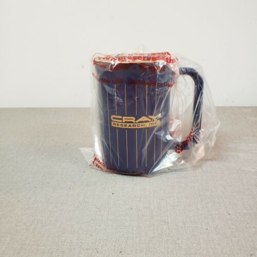 NEW - Vintage Cray Research Inc. Coffee Mug Cup Blue with Gold Vertical Stripes.