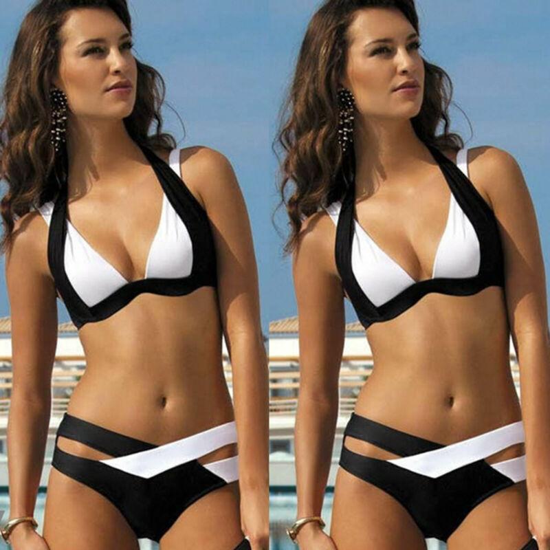 Damen Push Up Bikini Set Padded Bademode Badeanzug Neckholder Schwimmanzug Somme