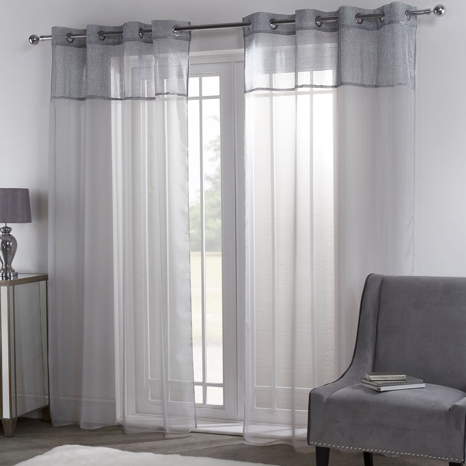 STRIPED GLITTER GREY//SILVER LINEN EYELET SPARKLE THICK VOILE NET CURTAIN PANEL//S
