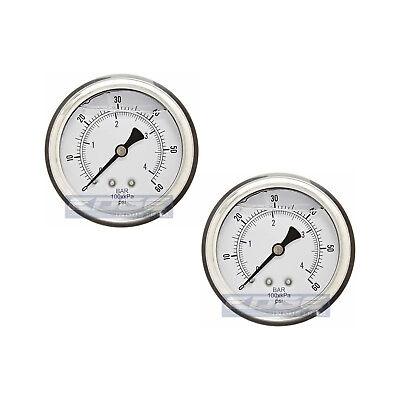 2 Pack Liquid Filled Pressure Gauge 0-60 Psi 2.5 Face 14 Back Mount Wog