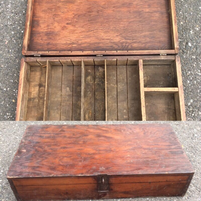 Antique Vintage 19 Th C Wood Seed Sorting Box Crate Divided Compartments