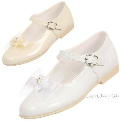 Ivory White Flower Girl Dress Shoes Flats First Communion Wedding Toddler Kids