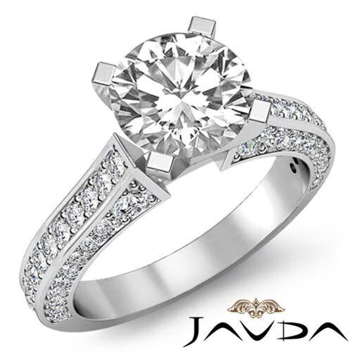 2ct Natural Round Cut Pave Set Diamond Engagement Ring GIA F SI1 14k White Gold