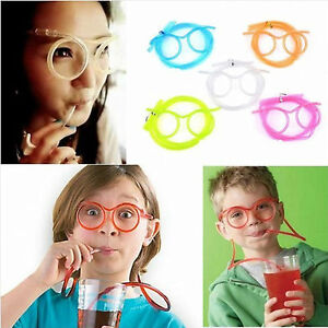 5 x CRAZY CURLY NOVELTY CLEAR PLASTIC DRINKING STRAW GLASSES KIDS PARTY JOKE