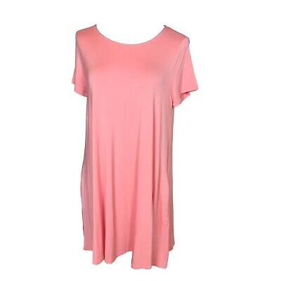 Agnes and Dora Swing Tunic Top Pockets Pink Peach Melon Size Large  Stretch NEW