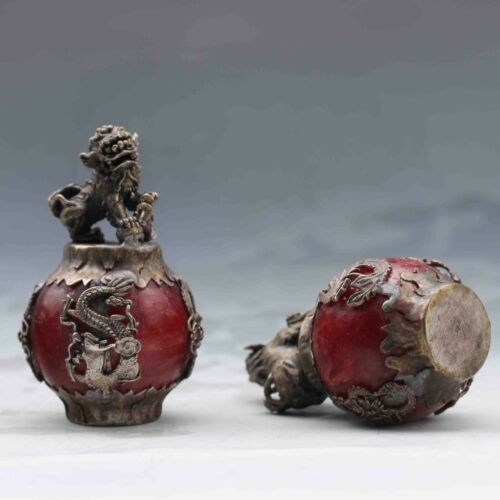 A PAIR COLLECTIBLE DECOR OLD JADE & TIBET SILVER LION STATUE
