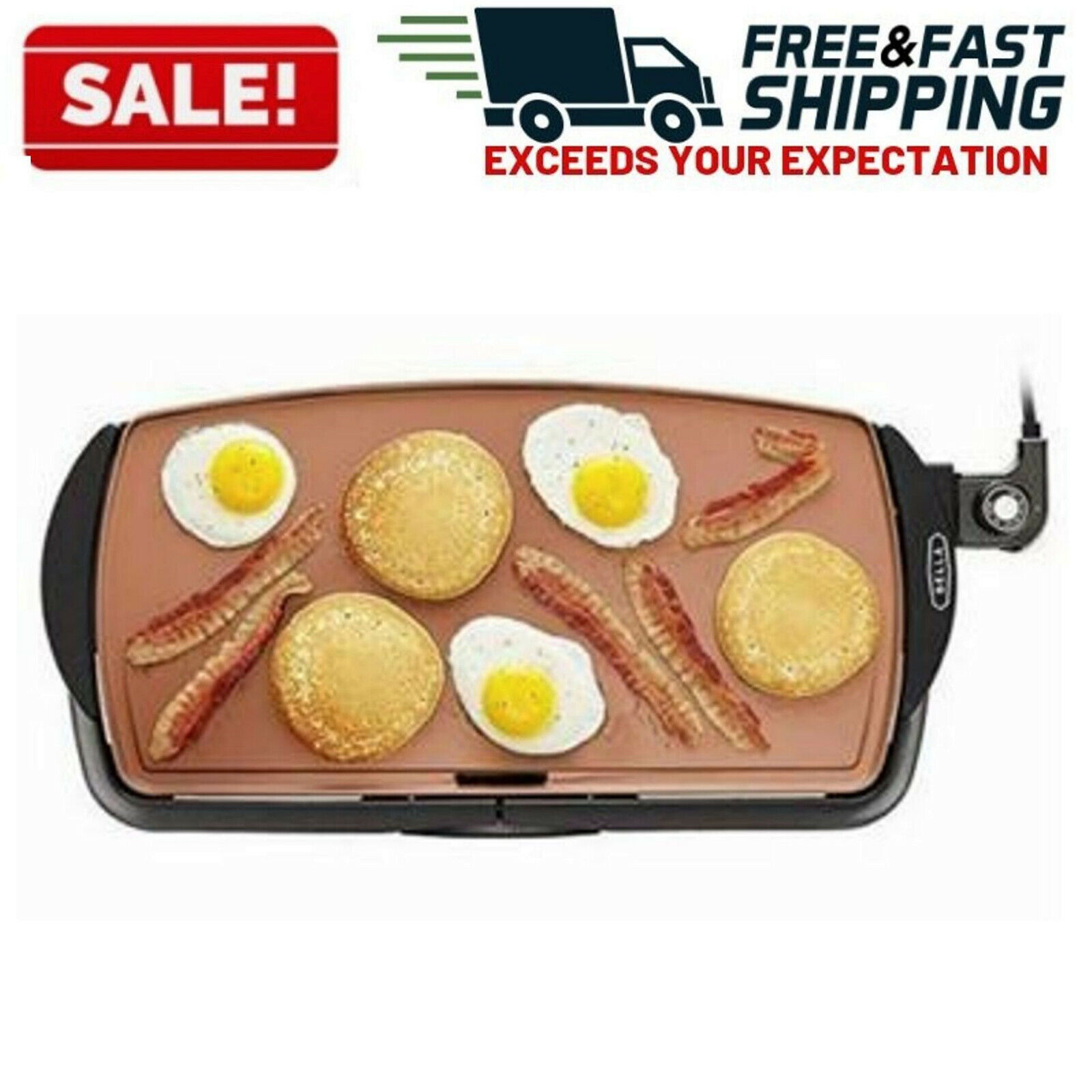 Non Stick Electric Griddle Plate Kitchen Cooking Indoor Coun