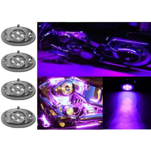 4Pc Purple LED Chrome Accent Module Motorcycle Chopper Frame Neon Glow Light Pod