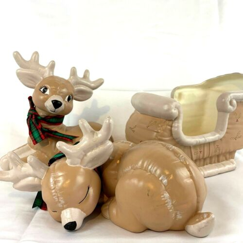 Christmas Reindeer Sleigh Hand Painted 3 Piece Vintage 80s Kimple Mold Ceramic