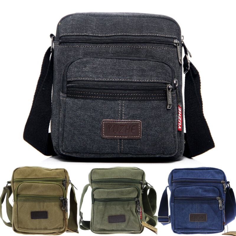 Herren Damen Canvas Schultertasche Umhängetasche Crossover Bag Messenger Tasche