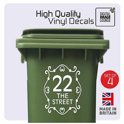 4 x WHEELIE BIN NUMBERS VINYL STICKERS WITH STREET/ROAD/HOUSE NAME - ANY COLOUR