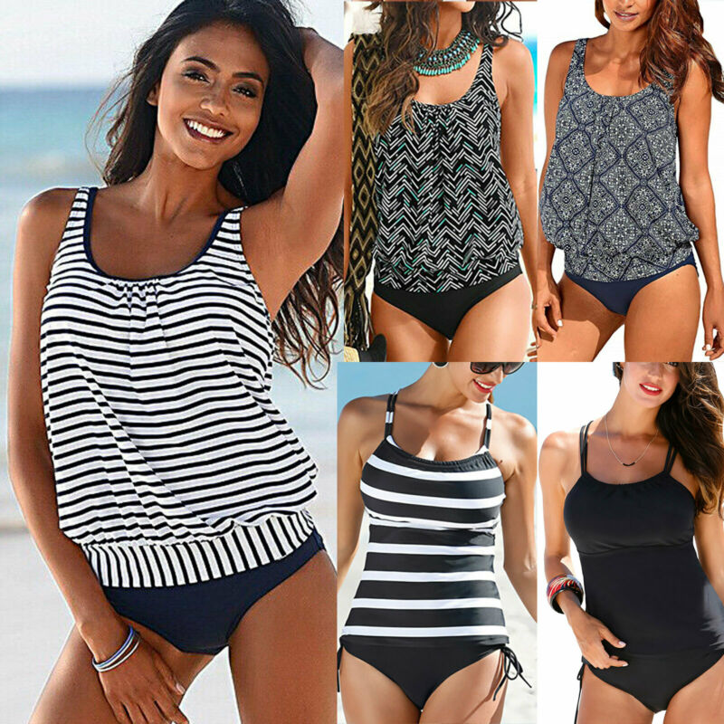 Damen Badeanzug Sport Tankini Set Oberteil Top Bikinihose Strand Bademode Sommer