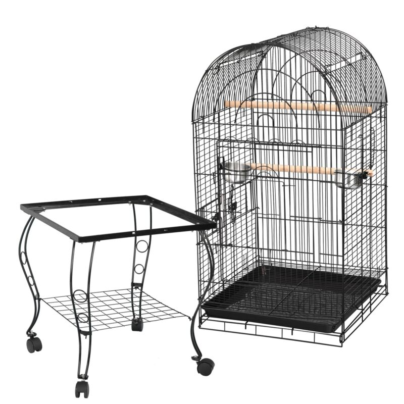 "63""H Rolling Bird Cage w/Open Play Top for Small Parrot Cockatiel Parakeet Home"