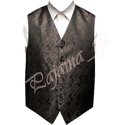 Brown Paisley Tuxedo Suit Dress Vest Waistcoat Formal Party Prom Wedding  ()