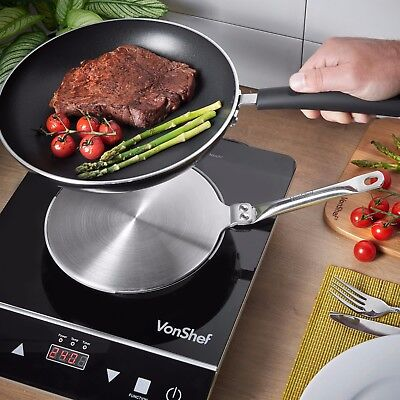 """VonShef Induction Hob Heat Diffuser 7.5"""" Stainless Steel Stovetop Cooking Pan"""