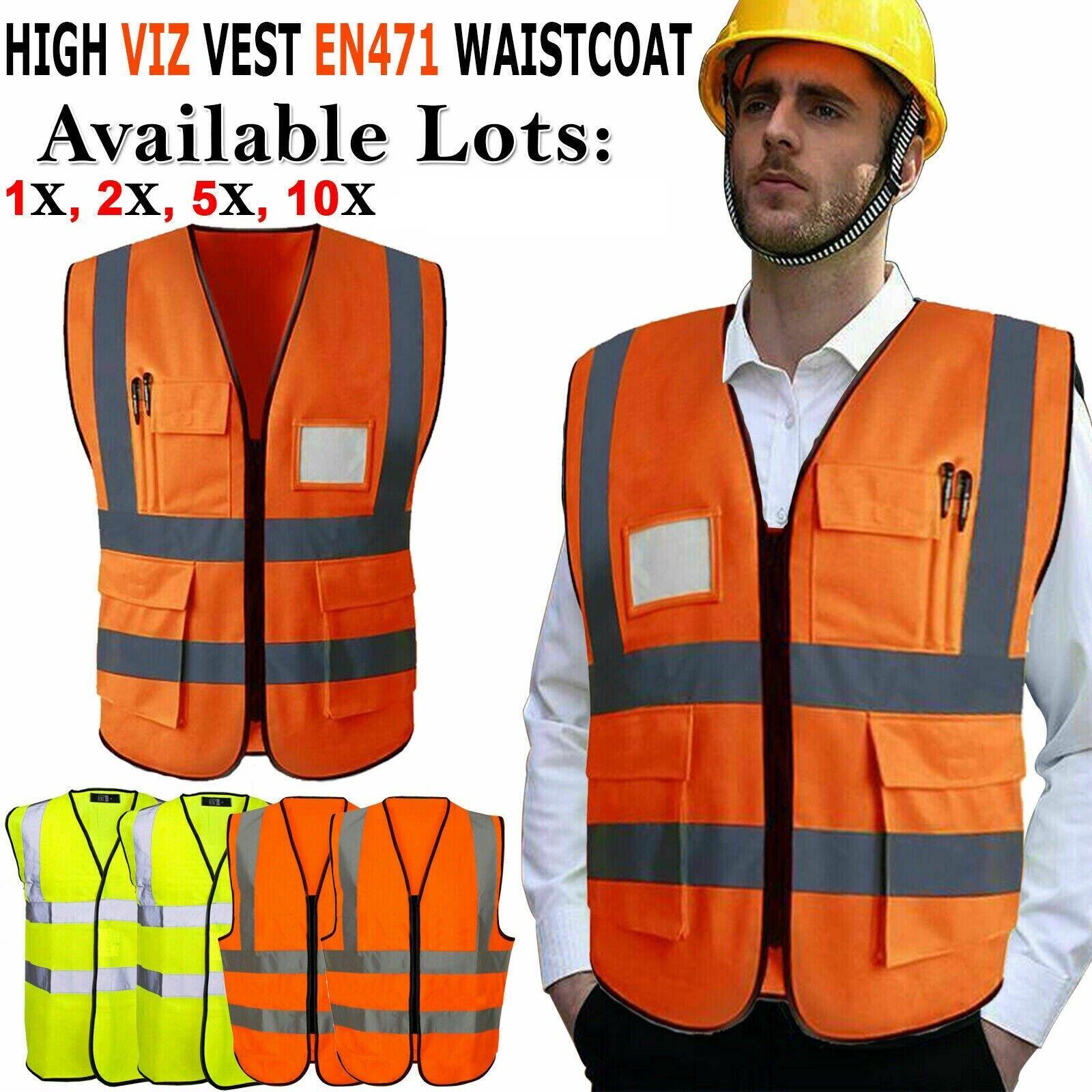 Hi-Vis Vest High Vis Safety EN471 Reflective Waistcoat Visibility Jacket Cycling