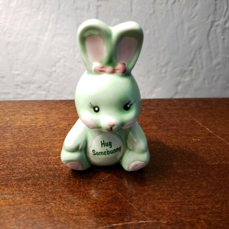 Vintage Russ Berrie Hug Somebunny Green Bunny Rabbit Figurine Easter Decor 1054