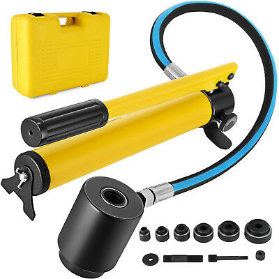6 Die 10 Ton Hydraulic Knockout Punch 12 To 2 Hand Tool Cutter Driver Kit