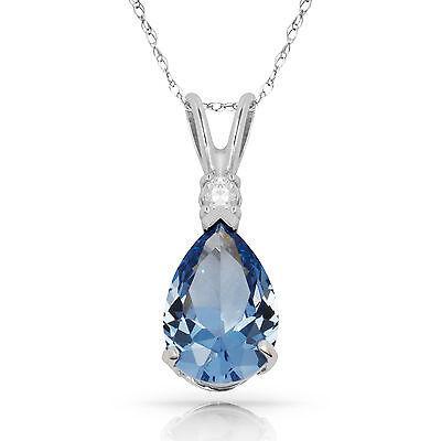 3.05 CT Aquamarine Pear Shape 2 Stone Gemstone Pendant & Necklace 14K W Gold