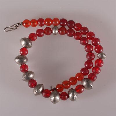 8142 Necklace Antique Reed Glass Bohemia, Antique Metal Ethiopian Pearls