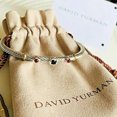 David Yurman Renaissance Three Station Bracelet Black Onyx Garnet 18K Gold  -