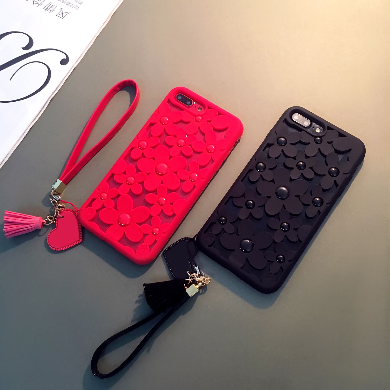3D Hollow Daisy Soft Phone Case with Love  tassel Strap For